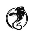 winged dragon circle logo symbol vector image