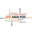 word cloud job analysis vector image vector image