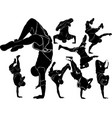 collection breakdance break dance silhouettes vector image