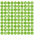100 internet icons hexagon green vector image vector image