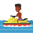 african-american man training on jet ski in sea vector image vector image