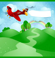 airplane and banner over the hills vector image vector image