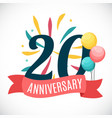 anniversary 20 years template with ribbon vector image vector image