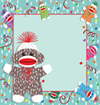 baby sock monkey shower vector image vector image