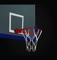 basketball basket on black background vector image vector image