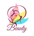 beauty salon emblem with young woman face vector image