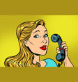 blonde woman talking on retro phone vector image vector image