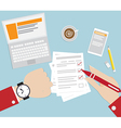 Business Concept Hand Checking Time Flat Design vector image vector image