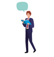 business man wit book and speech bubble vector image vector image