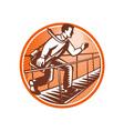 Businessman Satchel Bag Running Bridge vector image vector image
