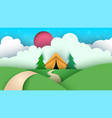 cartoon paper landscape tent christmas tree vector image vector image