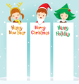 Children In New Year Costume With Banner vector image vector image