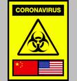 china and usa united states novel coronavirus vector image vector image