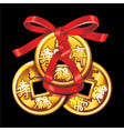 chinese coin tied with red ribbon vector image