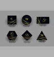 collection black and golden geometric logos vector image