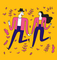 collection of hand drawn couple in the park vector image vector image