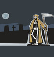 death with scytheman on graveyard night full moon vector image