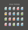different file types thin line color icons set vector image vector image