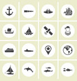 ector - set nautical sea ocean sailing icons vector image