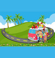 family trip to nature vector image