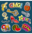 Fashion patch badges 80s-90s girl style set vector image