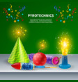 festive pyrotechnics background composition vector image vector image