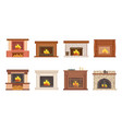 fireplace home interior burning wood icons set vector image vector image