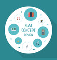 flat icons earphone turntable harmonica and vector image vector image
