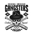 gangster skull in hat with baseball bats on white vector image vector image