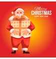 Greeting card with cartoon Santa Claus holding a vector image vector image