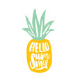 hello summer slogan handwritten with elegant vector image