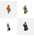 Isometric human set of investor plumber lady and