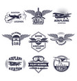 labels at aircrafts theme monochrome vector image vector image