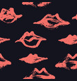livingcoral lips seamless pattern black background vector image vector image