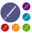 long sword icons set vector image vector image