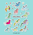 magic unicorns stickers collection for your vector image vector image