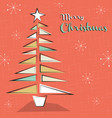 merry christmas retro mid century pine tree card vector image vector image