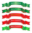 merry christmas ribbon on white background vector image vector image