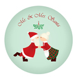 mr mrs santa under the mistletoe vector image vector image