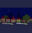 night scene cars in old town vector image