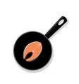 raw salmon steak on a black round iron pan vector image
