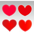 red hearts icons sign symbol set vector image