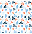 seamless stylized blue and orange leaves pattern vector image