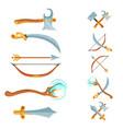 set of fantasy cartoon game design crossed vector image vector image
