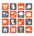 Silhouette Agriculture and farming icons vector image vector image