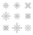 snowflake icon set white silhouette snow flakes vector image