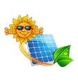 Solar panel and cartoon sun character vector image