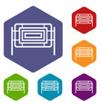 square fence icons set hexagon vector image vector image