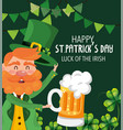 st patrick man with clovers plants and beer glass vector image