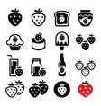 Strawberry meals - food and drinks icons set vector image vector image